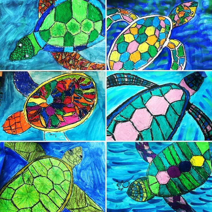 I have a Great Barrier Reef theme this semester.  Kids have loved creating sea art work.  These turtles really pop in the classroom with the oil pastels and paint wash.