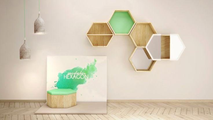 VECTOR hexagon, moduły ścienne oraz podłogowe do łączenia z w sobą w rożnych wersjach. Moduł podłogowe z tapicerowaniem w rożnych kolorach. Moduły ścienne - plecy w rożnych kolorach.