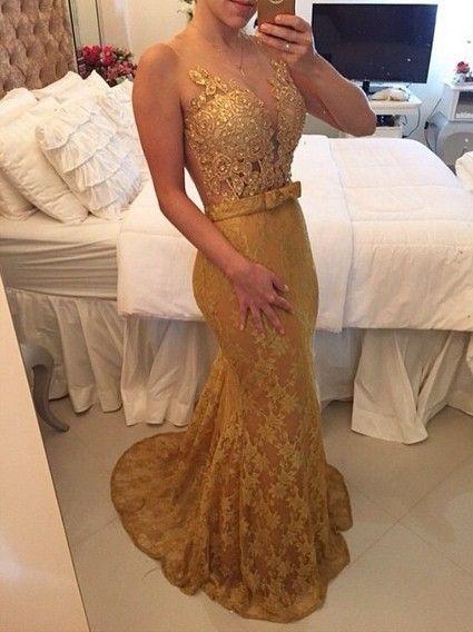 Vestido Longo 119 Renda Dourado