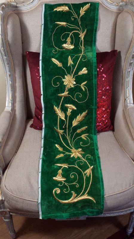 Антикварный французский золотой металлической вышивки розы цветок Stumpwork зеленый бархат