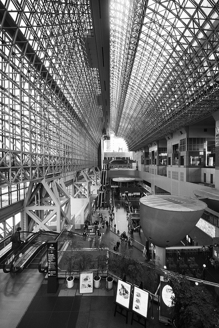 Amazing Depth in Black and White - Kyoto station designed by Hiroshi Hara, #Japan #Photography