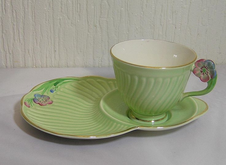 Vintage Art Deco Flower Handle Crown Devon Pottery Tennis or Breakfast set by TheMewsCottage on Etsy