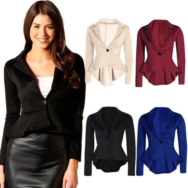 New Women's Ladies Crop Frill Shift Slim Fit Peplum Formal Blazer Jacket Coat | Clothing, Shoes & Accessories, Women's Clothing, Suits & Blazers | eBay!