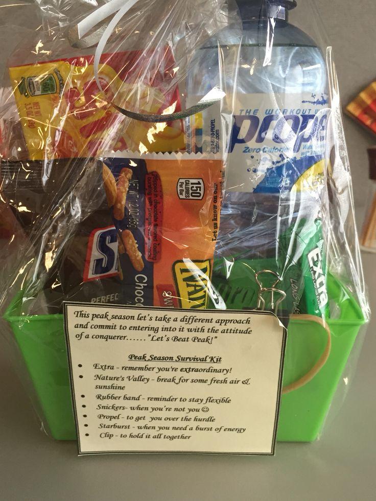 Employee peak season survival kit....fun, creative way to energize employees during stressful, high work volume periods.