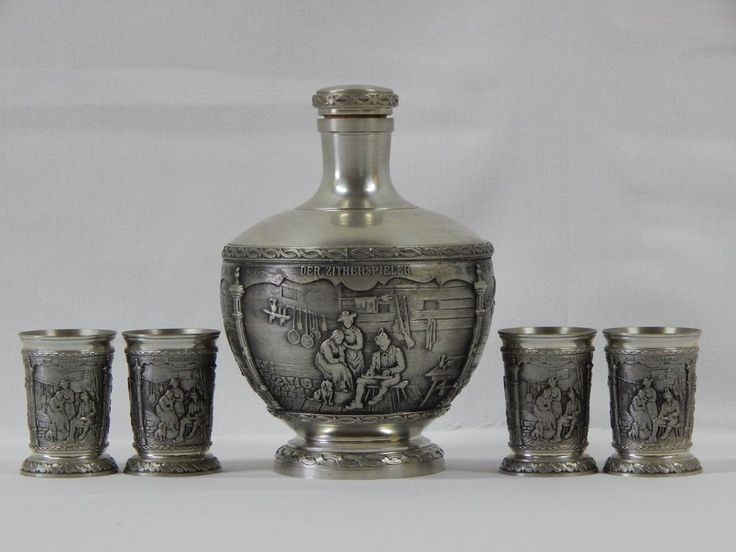 German pewter decanter 4 shot glasses sks artina zinn home decor pewter home and barware