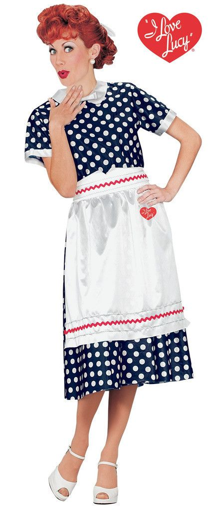 "#101114 Oh Lucy! Become Lucy this Halloween. The I Love Lucy Classic Polka Dot Dress Costume includes a black and white polka dot character dress and apron with red strip accent and ""I love Lucy"" hear"