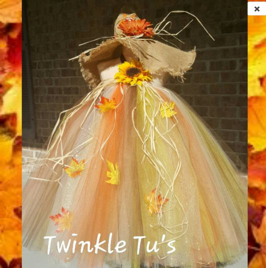 Scarecrow Fall Halloween Tutu Dress with Hat