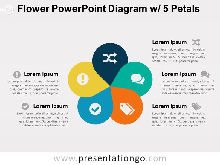 Flower PowerPoint Diagram w 5 Petals  PresentationGO