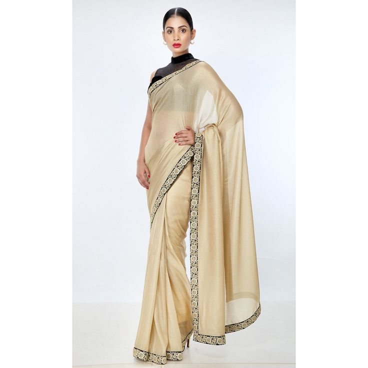 Heritage Series High-Fashion Georgette Gold Corporate-Festive-Wedding-Party Sari with Zardozi Work. #ThreadTurner #PowerDressing