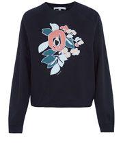 Carven Black Floral Applique Cotton Sweatshirt