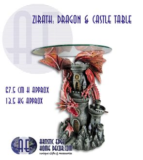 Zirath: Dragon and Castle Table  Zirath: Dragon and Castle Table  Amazing Dragon table created by Zemeno  W:  67.5 CM  W: 13.5 KG  We have 1 in stock at the store. Not sure if more are availible.  See our facebook page for more pics