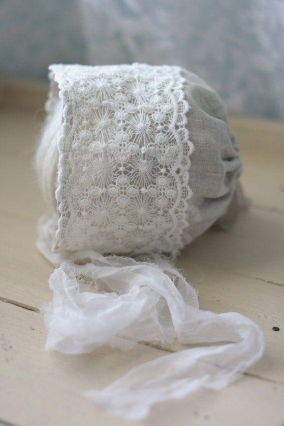 Newborn Linen & Lace Fabric Bonnet - Newborn Photography Prop on Etsy, $24.00