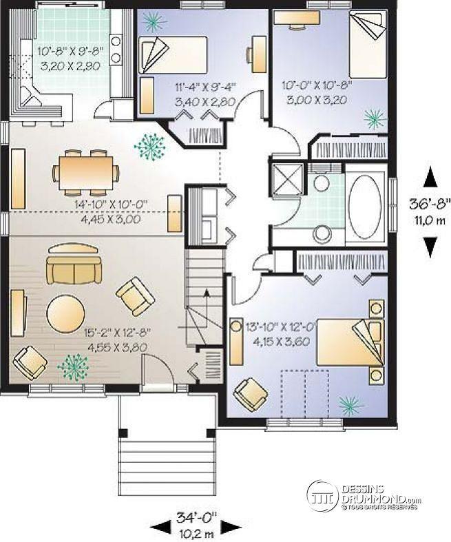 Plan de Rez-de-chaussée Plan de maison très économique avec plafond cathédrale et 3 chambres - Charbonnier