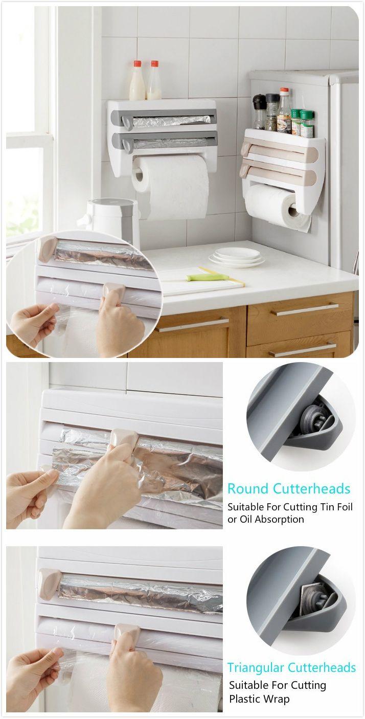 Kitchen Wall Mount Paper Towel Holder Bar Plastic Wrap Foil Dispenser Spice  Rack