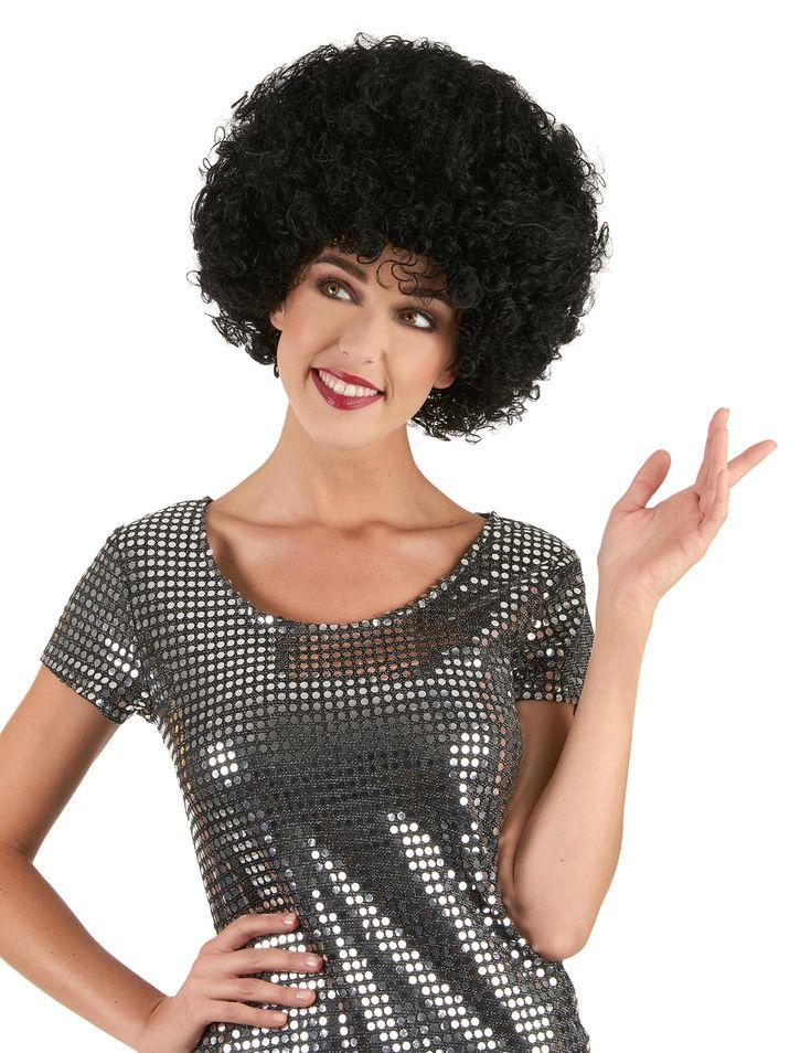 Peluca Afro negra: Esta peluca afro negra para adulto es rizada. Forma un casco voluminoso alrededor de la cabeza. Esta peluca es ideal para completar tu disfraz y divertir a tus amigos con su volumen.