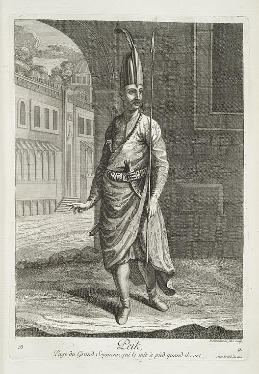 Peik (Ottoman messenger), originally, messengers or postal runners. They were fast athletic runners and could travel great distances without rest. It took them, for example, two days to get from Edirne to Istanbul on foot. They carried a hanjar (Hancer) - dagger in their girdles, a halberd in their right hands and a handkerchief full of sugar in their left. One of their tasks was to inform the Sultan when the pilgrims had returned from Mecca. The post was abolished in 1828.