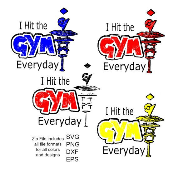 SVG - Hit the Gym Everyday - Pokemon Gym Digital Vector Download Great Gym Shirt Design for Pokemon Players or anyone! Great design for Cards, Wall Art and so much more!  4 SVG Set. Black and Red Plain plus Teams, Red, Blue ad Yellow all included in all formats.  Continue shopping: https://www.etsy.com/shop/AmaysingSVGs  This Design does not contain editable Text. All text sections are unioned as one piece for compatibility across software platforms.  This Listing includes...