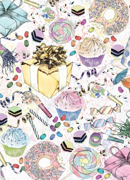 VICTORIA GARCIA for AHD PAPER CO. GREETING CARD 'BIRTHDAY PARTY'