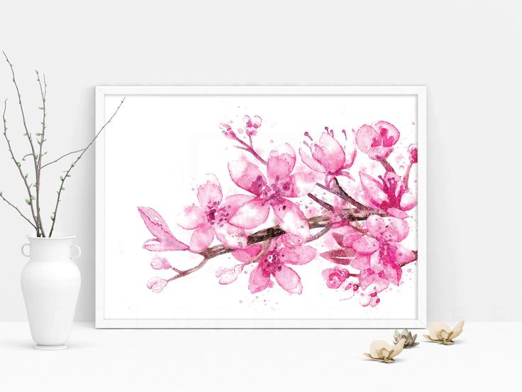 flower floral print, cherry print, cherry blossom, art prints, home decor art, wall art, minimalist print, printable art, watercolor print by theGoldenEmpress on Etsy