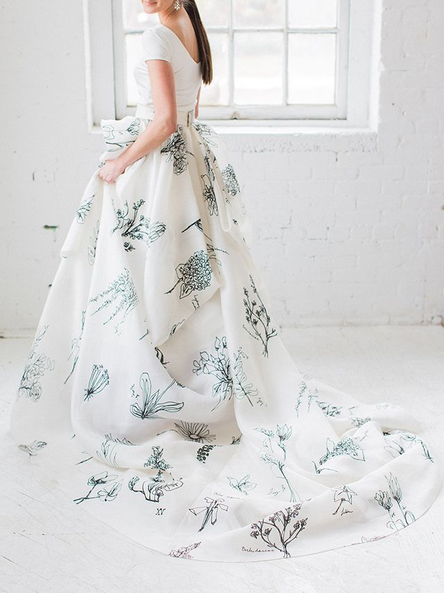 Event Planning & Design: RHIANNON BOSSE / Photo: SAMANTHA JAMES / Hair, Makeup: HANNAH WAGNER DESIGN Two piece number with botanical prints by CAROL HANNAH. No Traditional wedding gowns