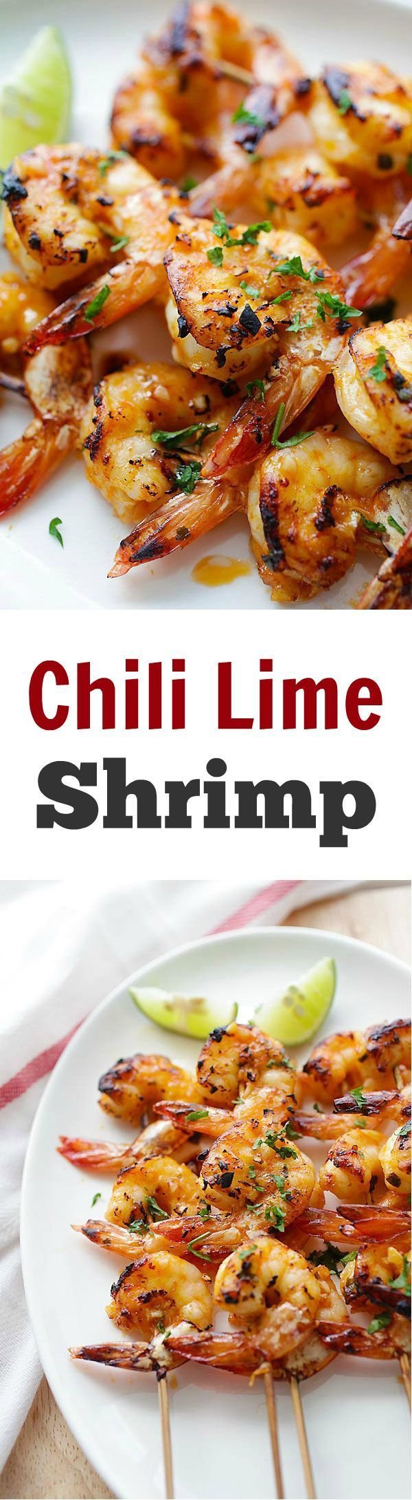 Chili Lime Shrimp – Juicy and succulent shrimp marinated with chili and lime and grill/baked to perfection. So good and so easy!