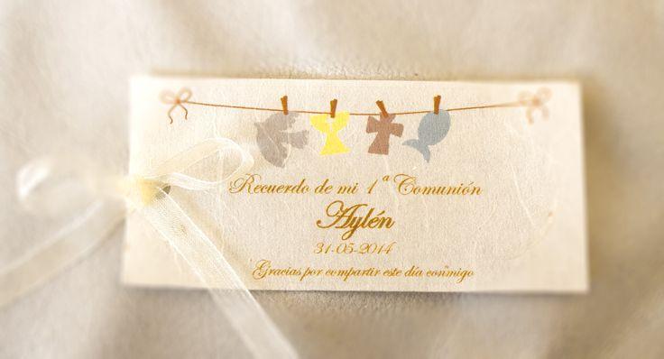 Recordatorios. Tarjeta recordatorios comunión. Tonos amarillos y beige. Personalizamos a tu gusto.  Pide presupuesto a detallescolibri@gmail.com +info www.detallescolibri.com