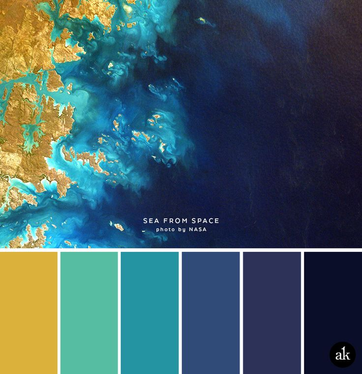 a sea-and-space-inspired color palette // yellow (gold), aqua, blue, navy