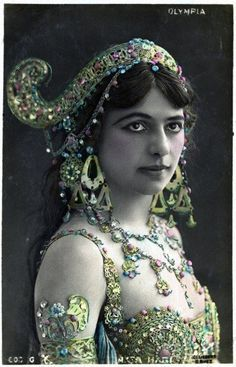"""Mata Hari ~ Margaretha Geertruida """"M'greet"""" Zelle McLeod (August 7, 1876 - October 15,1917), better known by the stage name Mata Hari, was a Dutch exotic dancer, courtesan, and accused spy who was executed by firing squad in France under charges of espionage for Germany during World War I."""