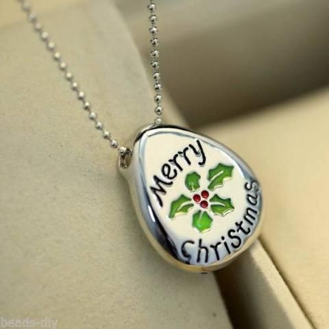 New BD Fashion Flower & Merry Christmas Engrave Pendant Women Necklace Jewelry
