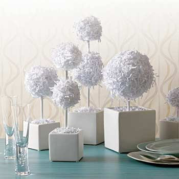 DIY Paper Centerpieces ~ these inexpensive table centerpieces are perfect for a wedding, bridal shower, baby shower or dinner party.  You can make these whimsical rumpled-chic topiaries with basic printing paper or colored paper to match any color theme