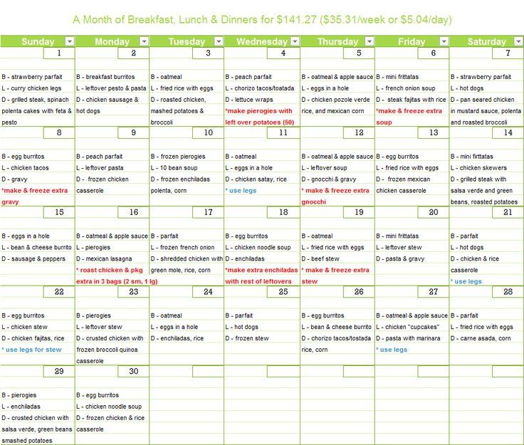 25 best Meal Planning images on Pinterest - meal calendar