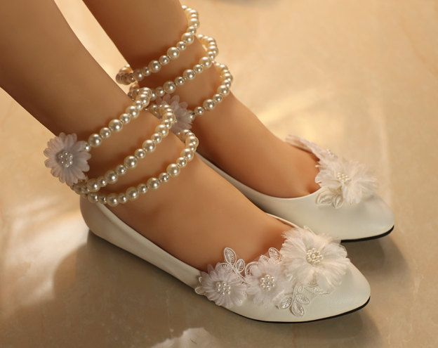 White Pearl Lace Girls Ballerine Flat Wedding Shoes by ...