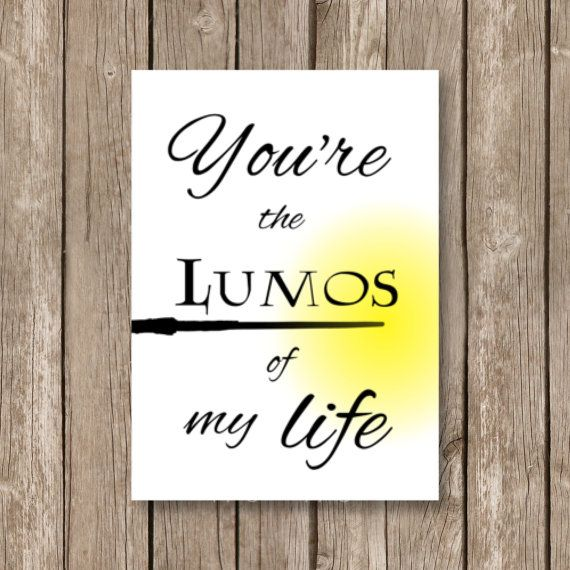 printable valentine card, Harry Potter, lumos of my life, watercolor technique, computer design