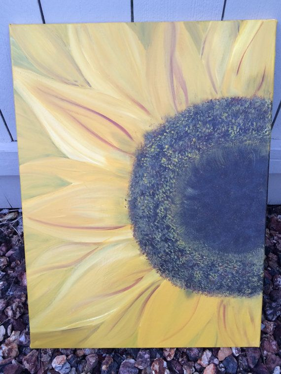 Blooming sunflower canvas painting. by CaninosArtisticCafe on Etsy