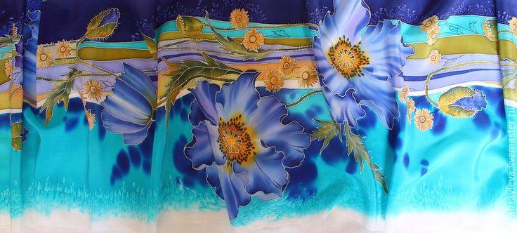 """Шарфы и шарфики ручной работы. Ярмарка Мастеров - ручная работа. Купить Батик шарф шелковый """"Синие маки"""". Handmade. Разноцветный"""
