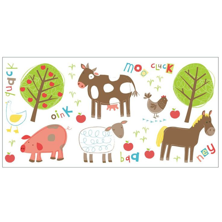 Fun4Walls Farm Wall Stickers - Set of 50 Multi-color - TWS40264
