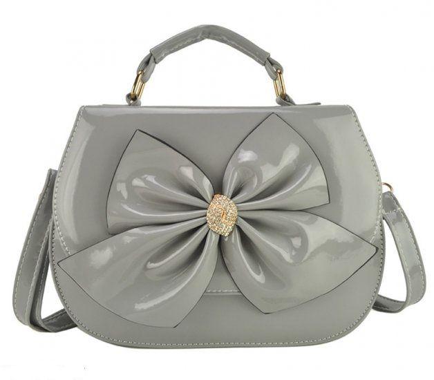 Large Front Bow Patent Satchel Bag  - £18