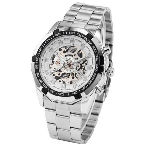 SLICK NATION The silver Pilot wristwatch with skeleton dial and silver links…