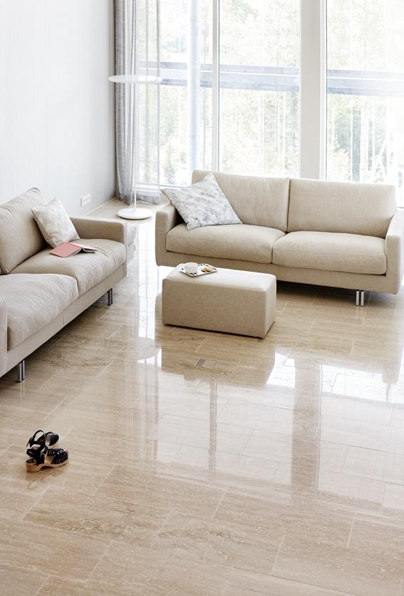 Kiven Herra / floor Travertino Classico by Tulikivi. Asuntomessut 2013.  Per info su realizzazioni simili www.sitemitalia.net