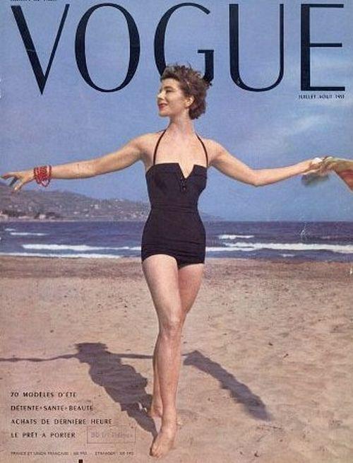 Bettina Graziani in swimwear on the cover of Vogue Paris, July 1953.