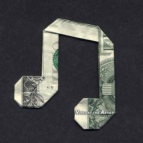 Dollar Bill Money Origami MUSIC NOTE