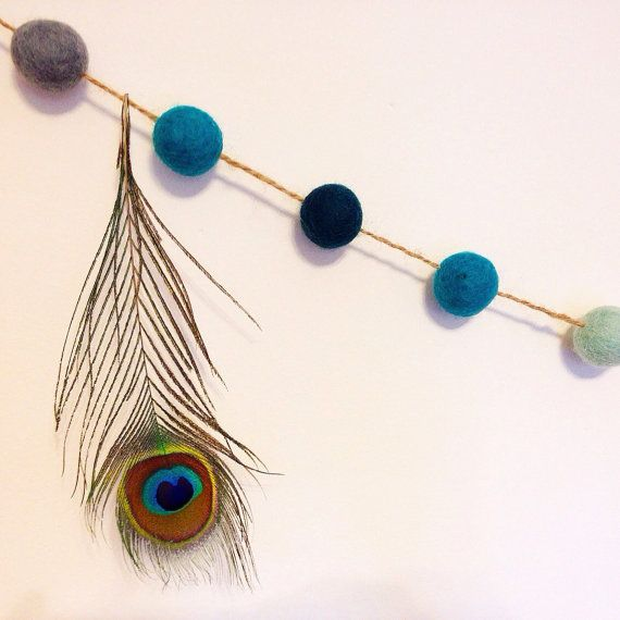Felt Ball Garland Peacock Peacock Teal with by LittleBuzzyBee