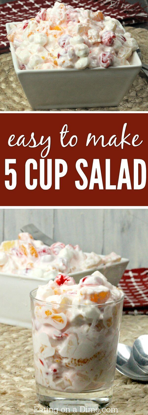 A classic 5 Cup Salad Recipe! You are going to love this Easy Ambrosia recipe. Sour cream gives this Ambrosia Salad the perfect tang! Try it today!