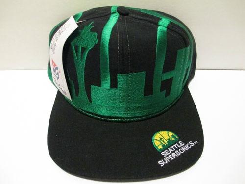 Vtg Seattle Supersonics The Game Big Logo Snapback Hat Cap Shawn Kemp Sonics