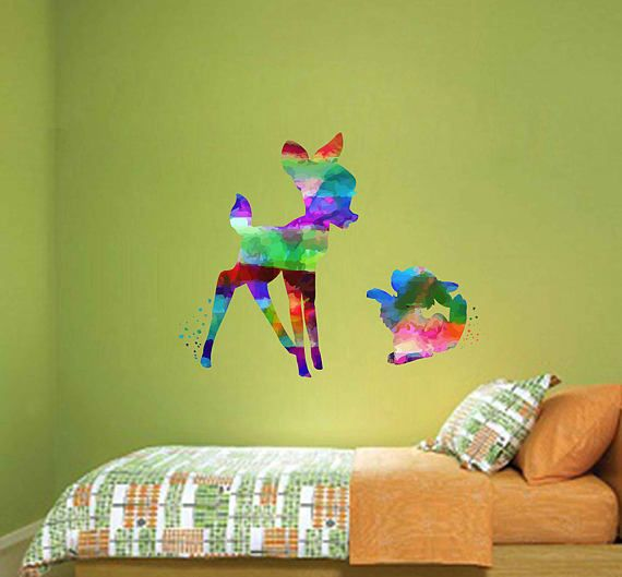 kcik2111 Full Color Wall decal Watercolor Bambi Character