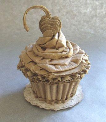 Patianne Stevenson's cupcake.         Gloucestershire Resource Centre http://www.grcltd.org/scrapstore/