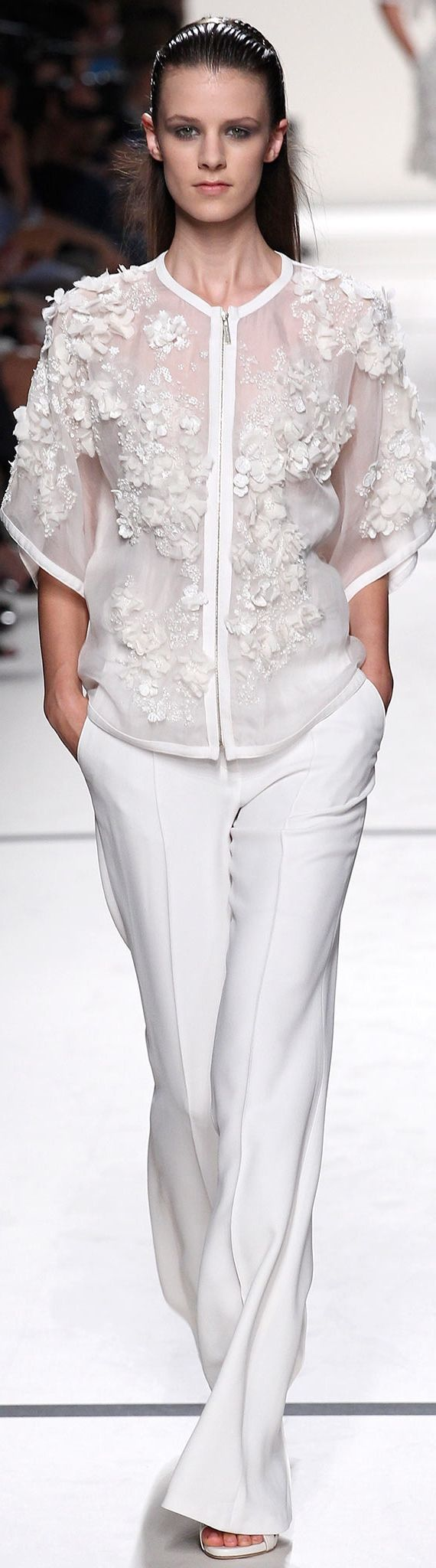Elie Saab Spring 2014 RTW. Love the shirt...well, the whole look!