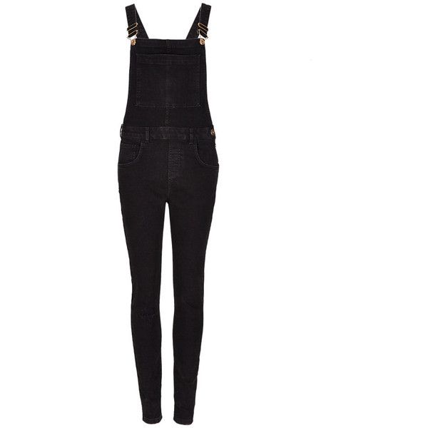 Cotton Rich Skinny Dungarees   M&S ($66) ❤ liked on Polyvore featuring jumpsuits, rompers, jeans, overalls, jumpsuit overalls, white cotton jumpsuit, cotton romper, romper jumpsuit and white jumpsuit