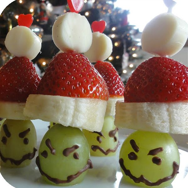 Grinch Kabobs (Grapes, Bananas, Strawberries, and Marshmallows)