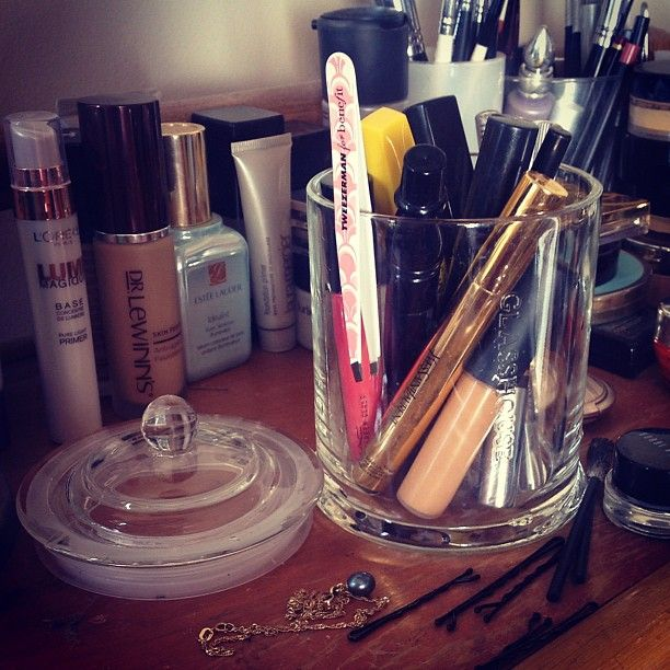 How to use old candle glass jars - as makeup brush/pen/mascara holders. Our jar is from Glasshouse Candles <3